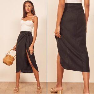 Reformation Citron Black Linen Wrap Midi Skirt M